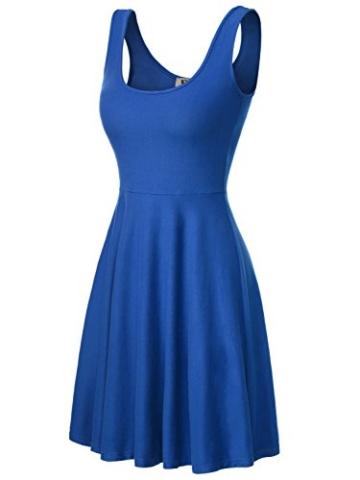 DJT Damen Vintage Sommerkleid Traeger mit Flatterndem Rock Blumenmuster Blau-2 XL - 1