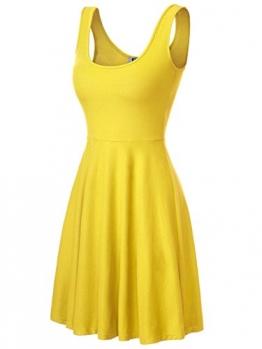 DJT Damen Vintage Sommerkleid Traeger mit Flatterndem Rock Blumenmuster Gelb S -
