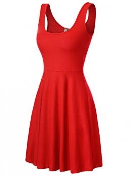 DJT Damen Vintage Sommerkleid Traeger mit Flatterndem Rock Blumenmuster Rot-2 M -