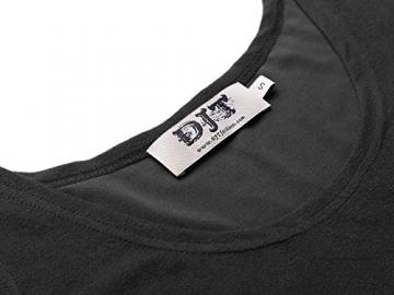 DJT Damen Vintage Sommerkleid Traeger mit Flatterndem Rock Blumenmuster Schwarz-2 M -