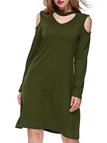 DKBAYA T-Shirt Kleid Baumwolle Casual Lose Knielang Damen A Linie Kleider Schulterfrei Minikleid mit Langarm V-Ausschintt grün Large - 1