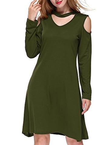 DKBAYA T-Shirt Kleid Baumwolle Casual Lose Knielang Damen A Linie Kleider Schulterfrei Minikleid mit Langarm V-Ausschintt grün Large - 2