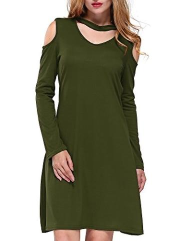 DKBAYA T-Shirt Kleid Baumwolle Casual Lose Knielang Damen A Linie Kleider Schulterfrei Minikleid mit Langarm V-Ausschintt grün Large - 3