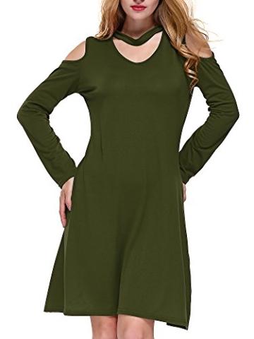DKBAYA T-Shirt Kleid Baumwolle Casual Lose Knielang Damen A Linie Kleider Schulterfrei Minikleid mit Langarm V-Ausschintt grün Large - 4