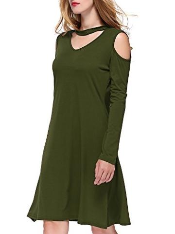 DKBAYA T-Shirt Kleid Baumwolle Casual Lose Knielang Damen A Linie Kleider Schulterfrei Minikleid mit Langarm V-Ausschintt grün Large - 5