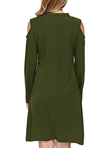 DKBAYA T-Shirt Kleid Baumwolle Casual Lose Knielang Damen A Linie Kleider Schulterfrei Minikleid mit Langarm V-Ausschintt grün Large - 6