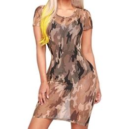 DOGZI Damen Sommerkleid, Kleider Partykleid Faltenrock Abendkleid - Frauen Fashion Print Camouflage Oansatz Lose Beiläufige Kleider (M, Tarnung) - 1