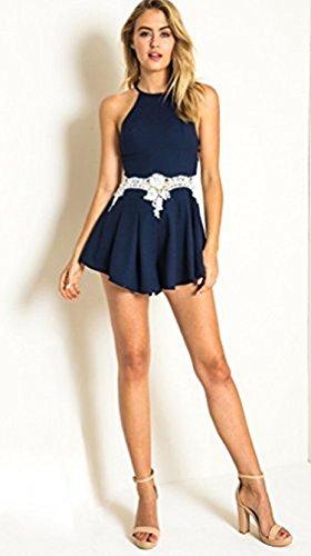 DongDong Damen Rundhals Ausschnitt Ärmellos Spitze Stitching Hohe Taillen Jumpsuit SommerKleid XL -