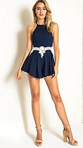 DongDong Damen Rundhals Ausschnitt Ärmellos Spitze Stitching Hohe Taillen Jumpsuit SommerKleid S -