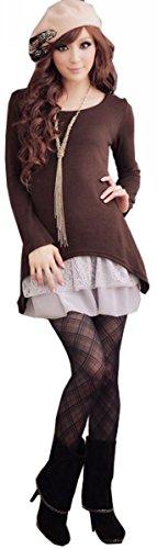 Doukia Mode Damen Strickkleider Kleidung Damenbekleidung Oberteile (Small, Coffee) - 2