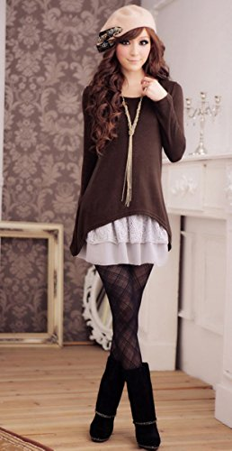 Doukia Mode Damen Strickkleider Kleidung Damenbekleidung Oberteile (Small, Coffee) - 3