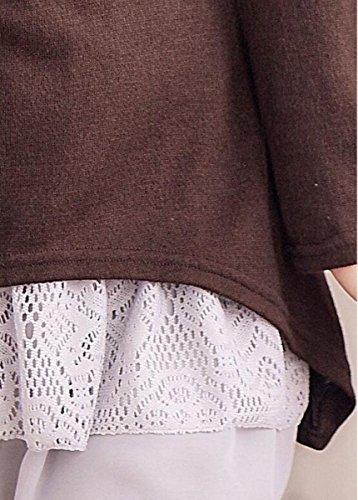Doukia Mode Damen Strickkleider Kleidung Damenbekleidung Oberteile (Small, Coffee) - 5