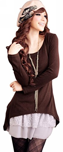Doukia Mode Damen Strickkleider Kleidung Damenbekleidung Oberteile (Small, Coffee) - 1