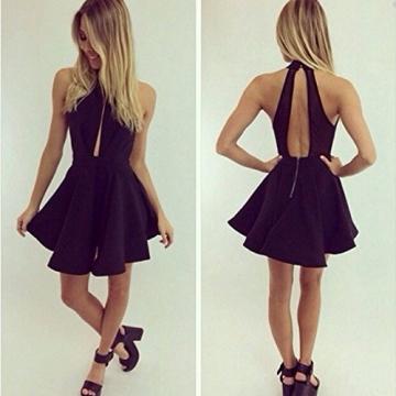 DP Design® Mini Kleid Schwarz Kleid Sexy Ausschnitt Hohe Qualität -