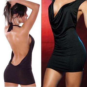 DP Design® Mini Kleid Schwarz Sexy Rückenfrei Ausschnitt Maxishirt Hohe Qualität Neues Angebot -