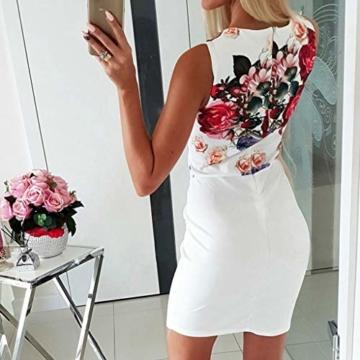 DQANIU- ??Sexy Kleid, Kleidung Schuhe & Accessoires - Kleid Damen Sommer Mode Kleid Sexy V-Ausschnitt Rose Printed Button Kleid Blau, Weiß, S-XL - 3