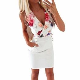 DQANIU- ??Sexy Kleid, Kleidung Schuhe & Accessoires - Kleid Damen Sommer Mode Kleid Sexy V-Ausschnitt Rose Printed Button Kleid Blau, Weiß, S-XL - 1