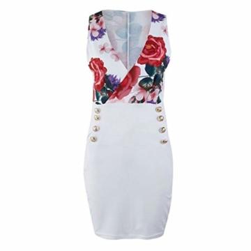 DQANIU- ??Sexy Kleid, Kleidung Schuhe & Accessoires - Kleid Damen Sommer Mode Kleid Sexy V-Ausschnitt Rose Printed Button Kleid Blau, Weiß, S-XL - 4