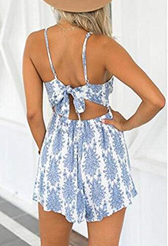 DRESHOW Damen Boho Jumpsuit Backless Kurz Sommer Strand Blumenmuster Trägerlos Spielanzug Overall (Blue, Small) - 2