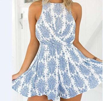 DRESHOW Damen Boho Jumpsuit Backless Kurz Sommer Strand Blumenmuster Trägerlos Spielanzug Overall (Blue, Small) - 3