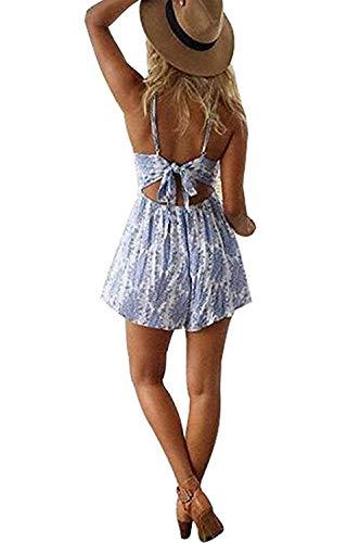 DRESHOW Damen Boho Jumpsuit Backless Kurz Sommer Strand Blumenmuster Trägerlos Spielanzug Overall (Blue, Small) - 5
