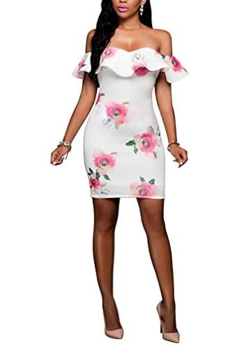 DRESHOW Damen Eine Schulter Kleid mit Rüschen Blumendrucke Rüschen Brust Figurbetontem Hautenges Midi Kleid - 2