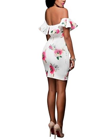 DRESHOW Damen Eine Schulter Kleid mit Rüschen Blumendrucke Rüschen Brust Figurbetontem Hautenges Midi Kleid - 3