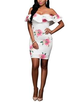 DRESHOW Damen Eine Schulter Kleid mit Rüschen Blumendrucke Rüschen Brust Figurbetontem Hautenges Midi Kleid - 1