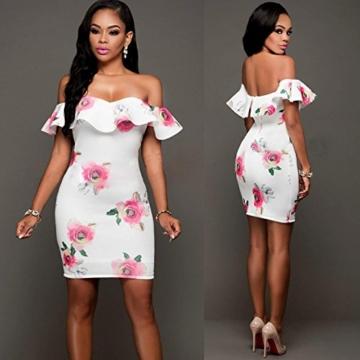 DRESHOW Damen Eine Schulter Kleid mit Rüschen Blumendrucke Rüschen Brust Figurbetontem Hautenges Midi Kleid - 4
