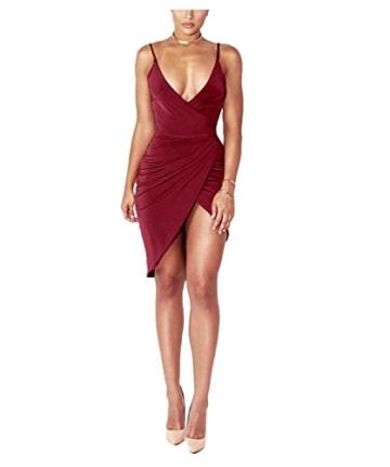 DRESHOW Damen Sexy Deep V-Ausschnitt Ärmelloses Spaghetti-Armband Bodycon Wrap Kleid Vorne Schlitzbandage Midi Club Kleid - 2