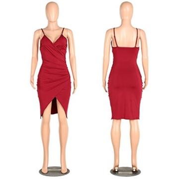 DRESHOW Damen Sexy Deep V-Ausschnitt Ärmelloses Spaghetti-Armband Bodycon Wrap Kleid Vorne Schlitzbandage Midi Club Kleid - 4