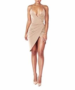 DRESHOW Damen Sexy Deep V-Ausschnitt Ärmelloses Spaghetti-Armband Bodycon Wrap Kleid Vorne Schlitzbandage Midi Club Kleid - 1
