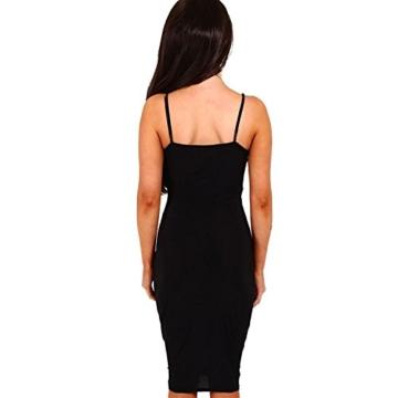 DRESHOW Damen Sexy Deep V-Ausschnitt Ärmelloses Spaghetti-Armband Bodycon Wrap Kleid Vorne Schlitzbandage Midi Club Kleid - 3