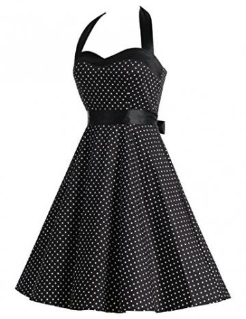 Dresstells Neckholder Rockabilly 50er Polka Dots Punkte 1950er Kleid Petticoat Faltenrock Black Small White Dot M -