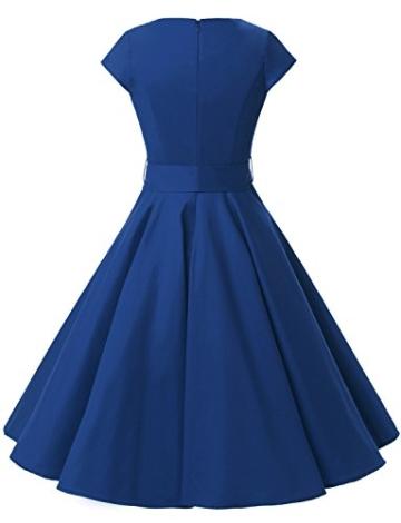 Dressystar Damen Vintage 50er Cap Sleeves Dot Einfarbig Rockabilly Swing Kleider L Royal Blau - 4