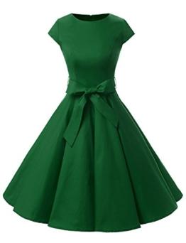 Dressystar Damen Vintage 50er Cap Sleeves Dot Einfarbig Rockabilly Swing Kleider S Armeegrün - 1