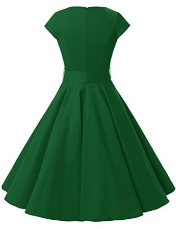 Dressystar Damen Vintage 50er Cap Sleeves Dot Einfarbig Rockabilly Swing Kleider S Armeegrün - 4