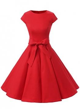 Dressystar Damen Vintage 50er Cap Sleeves Dot Einfarbig Rockabilly Swing Kleider S Rot -