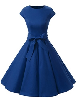 Dressystar Damen Vintage 50er Cap Sleeves Dot Einfarbig Rockabilly Swing Kleider L Royal Blau - 1