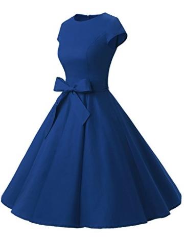 Dressystar Damen Vintage 50er Cap Sleeves Dot Einfarbig Rockabilly Swing Kleider L Royal Blau - 2