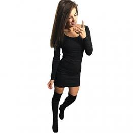 dünnes Kleid, Yogogo Frauen Fashion Solid Langarm-dünnes Kleid (M, Schwarz) -