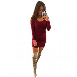 dünnes Kleid, Yogogo Frauen Fashion Solid Langarm-dünnes Kleid (M, Wein) -
