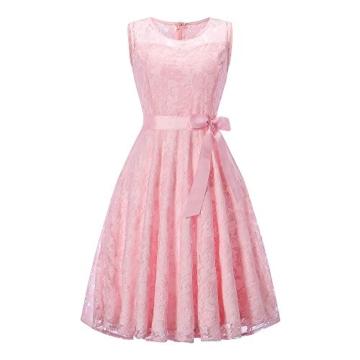 DYLH Damen Spitzen Rockabilly Kleid Festlich Partykleid Cocktailkleid Brautjungfern Kleid Rundhals Ärmellos Rosa Medium - 1