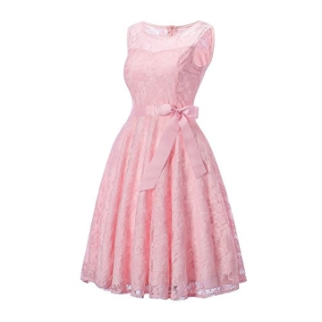 DYLH Damen Spitzen Rockabilly Kleid Festlich Partykleid Cocktailkleid Brautjungfern Kleid Rundhals Ärmellos Rosa Medium - 2