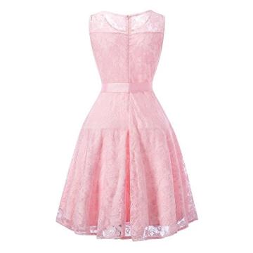 DYLH Damen Spitzen Rockabilly Kleid Festlich Partykleid Cocktailkleid Brautjungfern Kleid Rundhals Ärmellos Rosa Medium - 3
