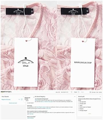 DYLH Damen Spitzen Rockabilly Kleid Festlich Partykleid Cocktailkleid Brautjungfern Kleid Rundhals Ärmellos Rosa Medium - 4