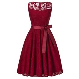 DYLH Damen Spitzen Rockabilly Kleid Festlich Partykleid Cocktailkleid Brautjungfern Kleid Rundhals Ärmellos Weinrot XXLarge - 1