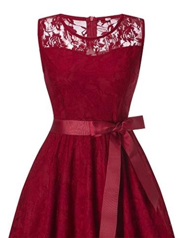 DYLH Damen Spitzen Rockabilly Kleid Festlich Partykleid Cocktailkleid Brautjungfern Kleid Rundhals Ärmellos Weinrot XXLarge - 4