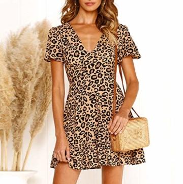 ♥ Loveso♥ Damen Fashion Leopard Drucken Minikleid Frauen Sexy Partykleid - 3
