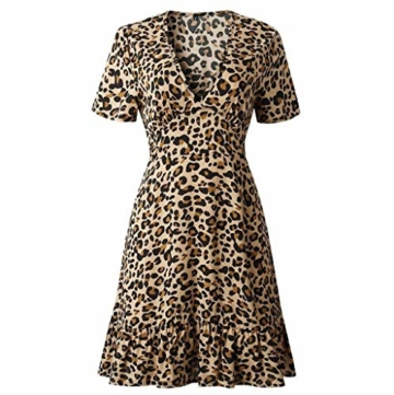 ♥ Loveso♥ Damen Fashion Leopard Drucken Minikleid Frauen Sexy Partykleid - 7
